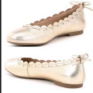 Jack Rogers Lucie Gold Scalloped Edge Ballet Flats